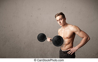 muscular man lifting weights - Strong muscular man lifting...
