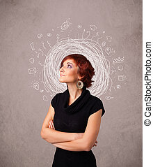 Pretty young girl with abstract circular doodle lines and...
