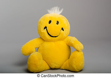 Yellow smiley, stuffed toy - Yellow smiley, positive stuffed...