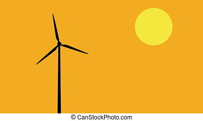 Wind turbine - Silhouette of a wind turbine operating at...