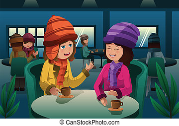 People drinking coffee - A vector illustration of fashion...
