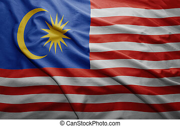 Flag of Malaysia - Waving colorful Malaysian flag
