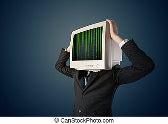 Cyber business human with a monitor screen and computer code...
