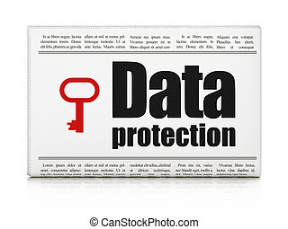 Safety news concept: newspaper with Data Protection and Key