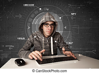 Young hacker in futuristic enviroment hacking personal...