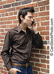 Man on cell phone.