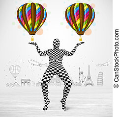 man in full body suit holding balloon - Funny man in full...