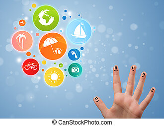 Cheerful happy smiling fingers with colorful holiday travel...
