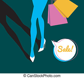Shopping girl - Vector illustration of Shopping girl