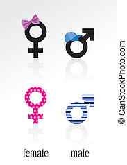 Male and Female signs; 2 sets