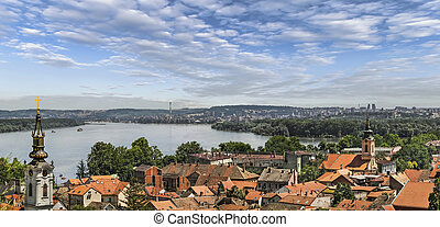 Panoramic view from Gardos Lookout In Zemun, on River...