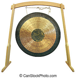 Gong - Traditional oriental gong isolated on white...