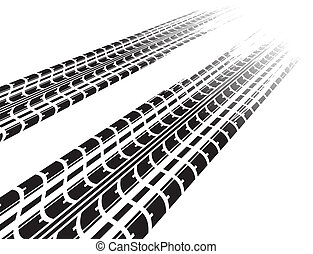 Black tire tracks in perspective