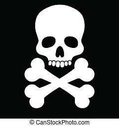 Skull white - White skull with two bones on black background