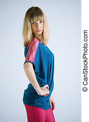 Stylish Blondy Woman Posing For A Photograph Caucasian...