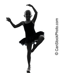 one little girl ballerina ballet dancer dancing silhouette -...