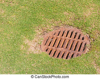 Dry storm drain grate on grass - Round rusty metal drainage...