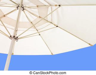 azul, paraguas, dentro, cielo, debajo, blanco, playa, claro