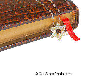 Shiny silver, textured six point star pendant on link chain...