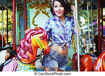 Rejoicing Merriment Excited Lively Woman in Funfair Smiling...