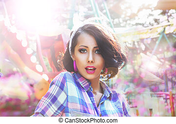 Excitement. Astonished and Amazed Woman's Face in Bokeh
