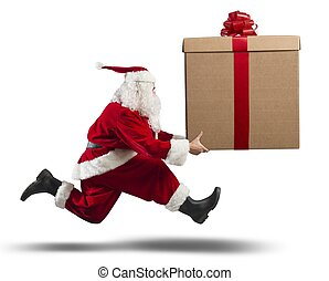 Running Santa Claus with big gift - Running santa Claus with...