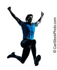 man runner sprinter jogger shouting silhouette - one...
