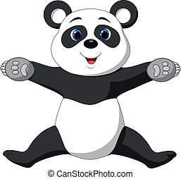 Happy panda cartoon - Vector illustration of Happy panda...