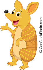 Cute armadillo cartoon presenting - Vector illustration of...