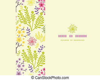 Blossoming trees horizontal frame seamless pattern background