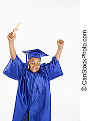 Young hispanic boy graduate - Young boy wearing blue...
