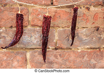 Chili to dry on a rope
