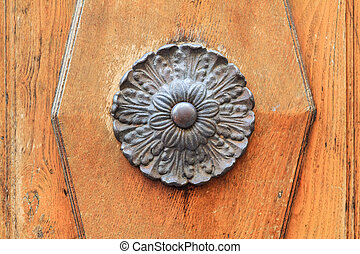 Metal door ornament detail