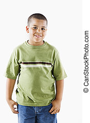 Young hispanic boy - Young latino adolescent boy standing...