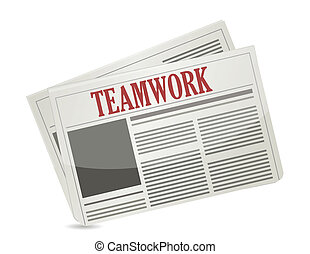teamwork headline on a newspaper.