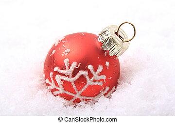 Weihnachtskugel rot - rote Weihnachtskugel mit weiem Muster...