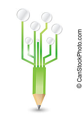 pencil connected to a circuit network illustration design...