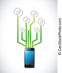 phone connected to a circuit network illustration design...