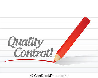 quality control text written message illustration design...