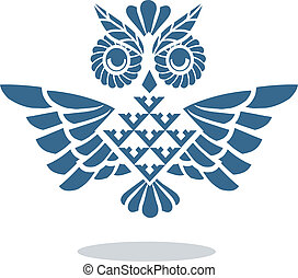 blue owl - vector schematic image of an owl