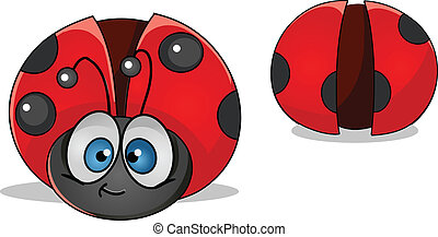 ladybug - vector colorful characters a front and back