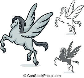 Pegas - vector color and black and white drawing of Pegasus