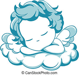 sleeping litle Angel - vector blue winged angel sleeping