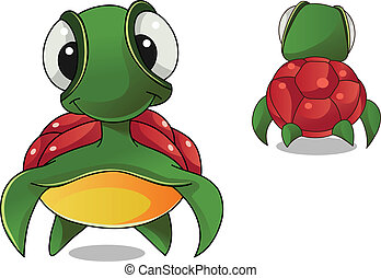 tortoise - vector colorful characters a front and back