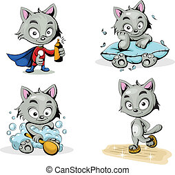 vector color cats - vector characters cleaners