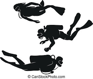 Vector divers - Vector black and white silhouettes diving