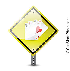 risk ahead. playing cards road sign concept