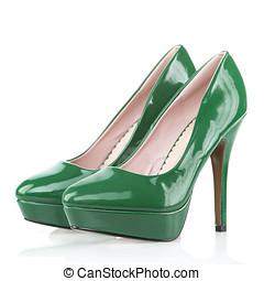 alto, talones, zapatos, plataforma, suela, verde, patente,...