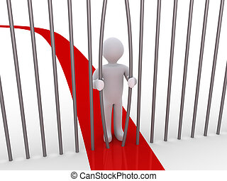 Person is bending bars to overcome the problem - 3d person...