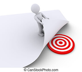 Person discovers the target under a paper